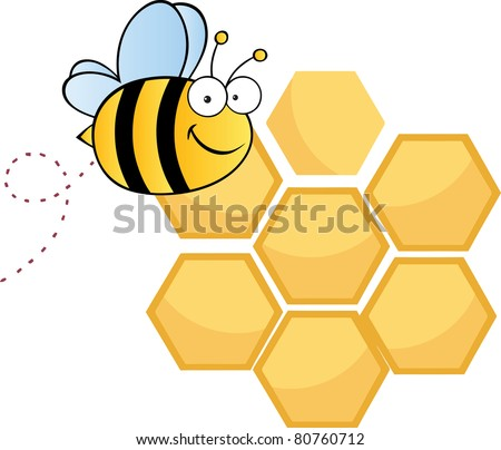 Bee Cute Cartoon Character Flying In Front Of A Orange Bee Hives.Vector illustration