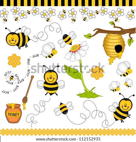 Bee digital collage - stock vector