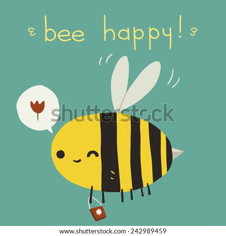 Bee happy postcard icon. The vector greeting card with cartoon funny bee for ui, web games, tablets, wallpapers, and patterns. - stock vector