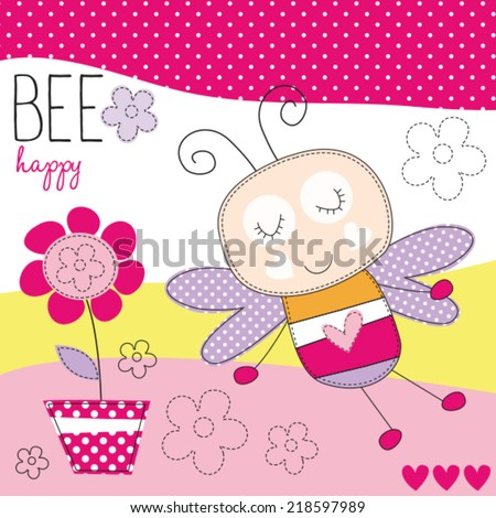 bee happy with flower vector illustration - stock vector