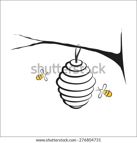 Bee hive and bee - stock vector