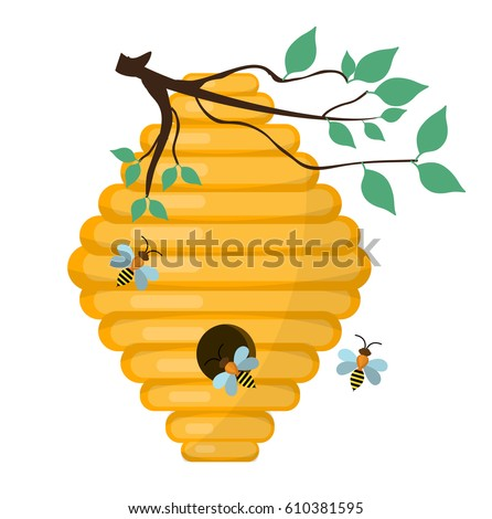 Bee Hive Swarm Icon Flat Style Isolated On White Background Vector