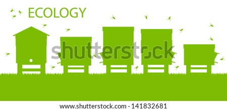 Bee hive vector background ecology concept card