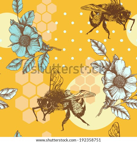 Bee, honey and roses. Hand drawn vector seamless pattern. - stock vector