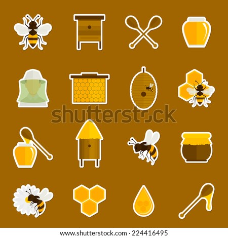 Bee honey icons stickers set with spoon jar bumblebee isolated vector illustration - stock vector