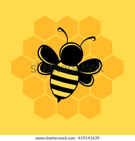 Bee illustration on yellow background