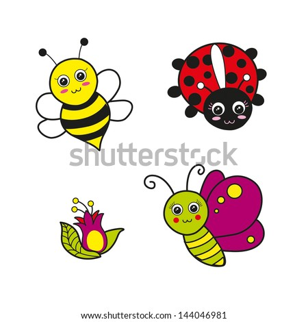 Bee, Ladybird, Butterfly, Flower Vector - stock vector