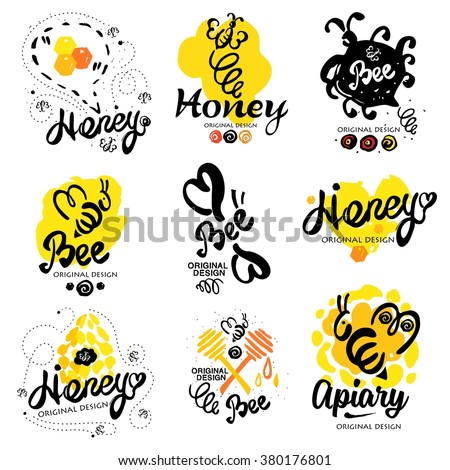 Bee logo. Sweet honey logo. Handmade logotype on the theme of beekeeping. Natural bee products. Logos made by hand ink. Yellow spot of honey with the bee logo. Beehive with bees logo. Honeycomb logo - stock vector