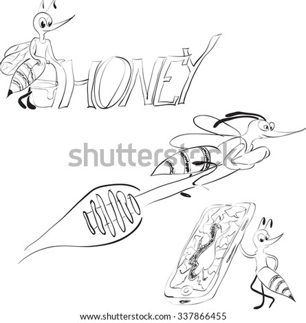 Bee on a spoon with honey and a broken phone