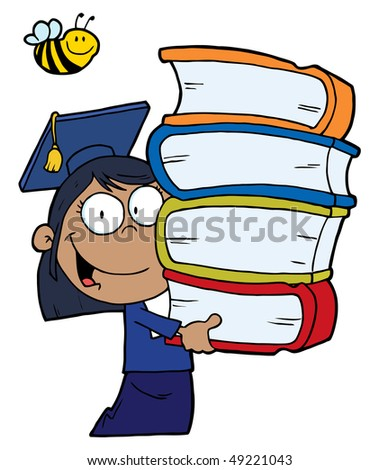 Bee Over An African American Graduate School Girl Carrying A Stack Of Books