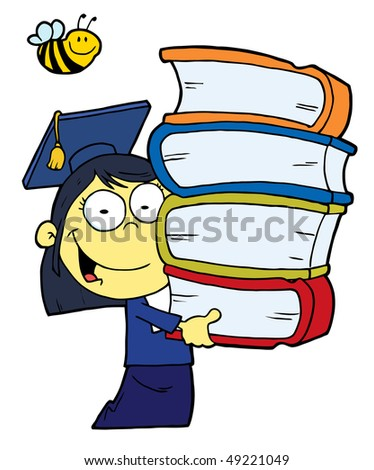 Bee Over An Oriental Graduate School Girl Carrying A Stack Of Books