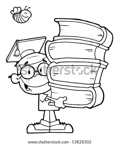 Bee Over An Outlined Graduate School Boy Carrying A Stack Of Books - stock vector