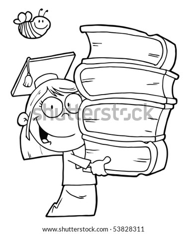 Bee Over An Outlined Graduate School Girl Carrying A Stack Of Books - stock vector
