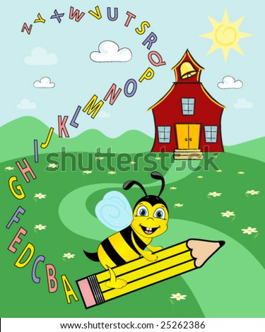 Bee riding a pencil over field of flowers,leaving a trail of the alphabet. Schoolhouse in the background.vector. - stock vector