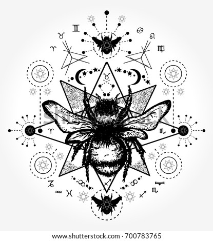 Bee Tattoo Art Hand Drawn Sketch Of Bumblebee Mystical And Esoteric