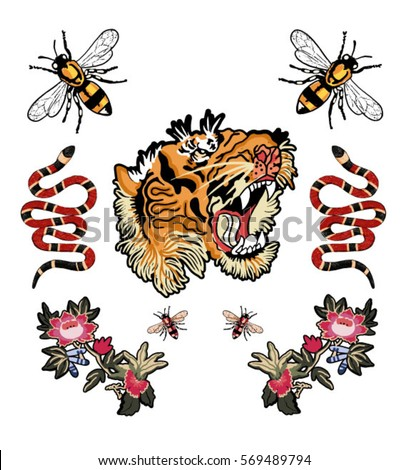 Bee Tiger Snake Tiger Flowers Patch Stock Vector 569489794 ...