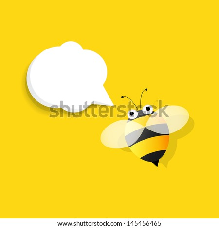 bee with speech bubble - stock vector