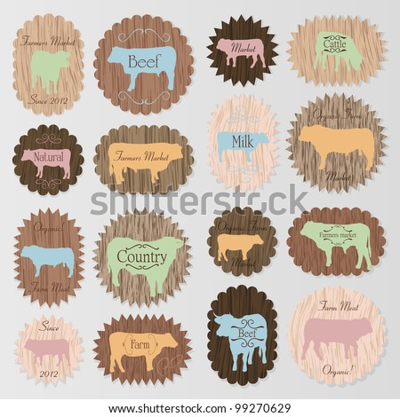 Beef and milk cattle farmers market food labels illustration collection background vector - stock vector
