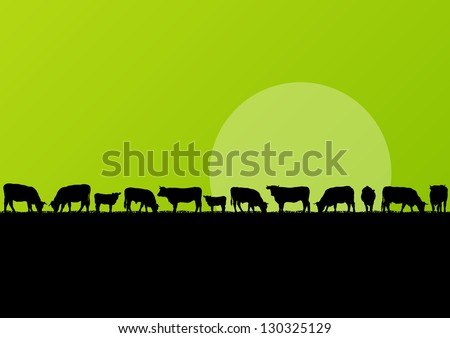 Beef cattle and milk cow herd in countryside field landscape illustration background vector - stock vector