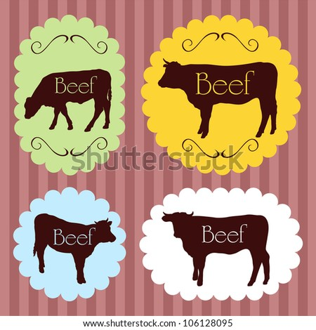 Beef cattle food labels illustration collection background - stock vector