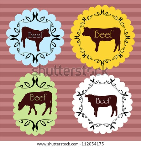 Beef cattle food labels illustration collection background vector - stock vector