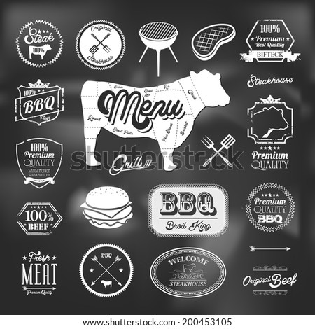 Beef specialty restaurant elements design - stock vector