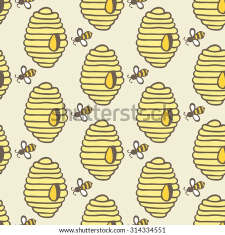 Beehive And Bee Hand Drawn Seamless Cartoon Pattern With Honey Bees Hives
