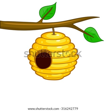 beehive hanging from a branch isolated on white background - stock vector