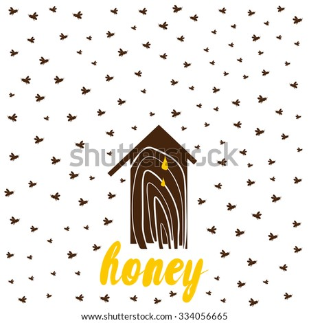 Beehive with bees - stock vector