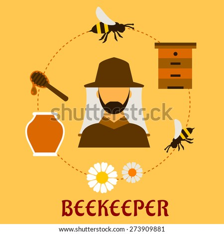 Beekeeping concept with beekeper in hat and apiculture symbols around him including honey jar, flying bees, flowers, wooden beehive and dipper with drop of liquid honey - stock vector