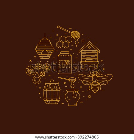 Beekeeping product icon set. Beekeeping vector symbols. Bee, honey, bee house, honeycomb, apiary, beehive, flower. Outline style beekeeping product icons. Beekeeping product illustration - stock vector