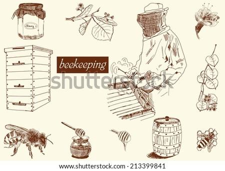 beekeeping set - stock vector