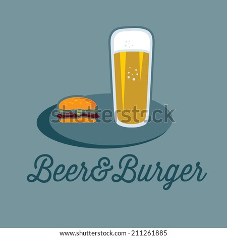 beer and burger on the table - stock vector