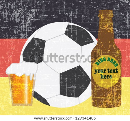 beer and football items on Germany flag background vector - stock vector