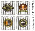 Beer badges and labels on wooden  background - stock vector