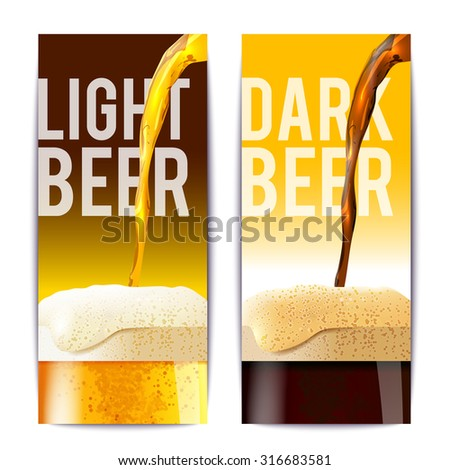 Beer banner vertical set with full realistic glasses isolated vector illustration - stock vector