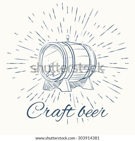 beer barrel and vintage sun burst frame. craft beer emblem. Isolated on white background. - stock vector