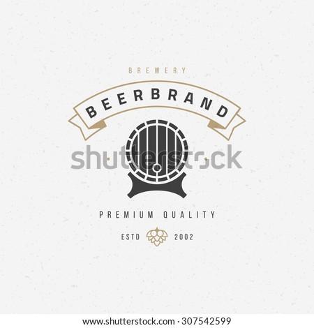 Beer barrel logo or badge design element vector illustration - stock vector