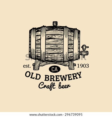 Beer barrel. Old brewery. Beer labels. Brewery sketch. Beer bar. Brewery background. Craft beer. Beer  illustration. Vector vintage brewery logo. Retro logotype with beer. Brewery sign. Beer icon set. - stock vector