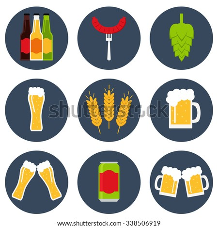 Beer. Beer icon. Isolated beer icons set on background. Collection of beer icons for brewery, beer bar, pub and restaurant. Flat line style vector illustration. - stock vector