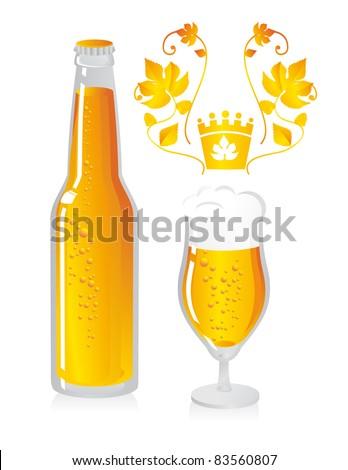 beer bottle and beer mug - stock vector