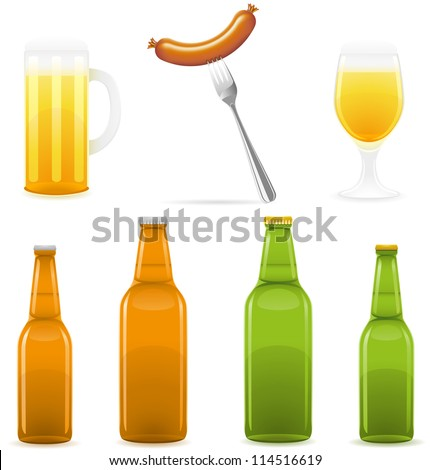 beer bottle glass and sausage vector illustration isolated on white background