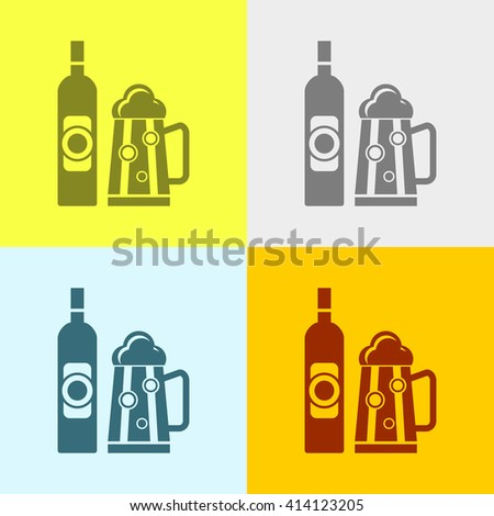 Beer Bottle & Glass Icon on Four Different Backgrounds. Eps-10.