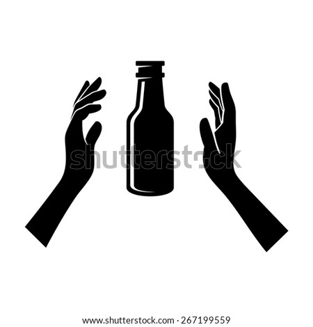 Beer Bottle in the Hands Isolated on White. Vector - stock vector