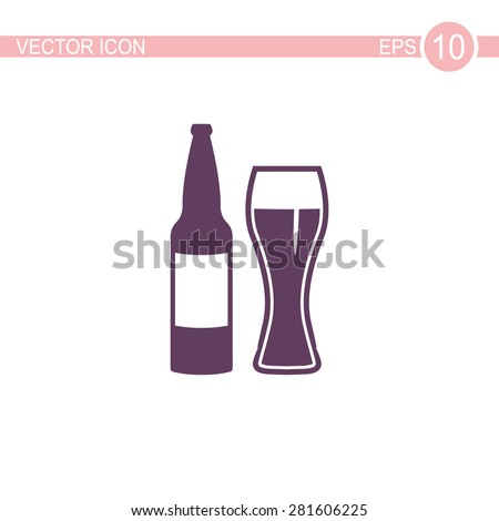 Beer bottle with glass vector icon. - stock vector