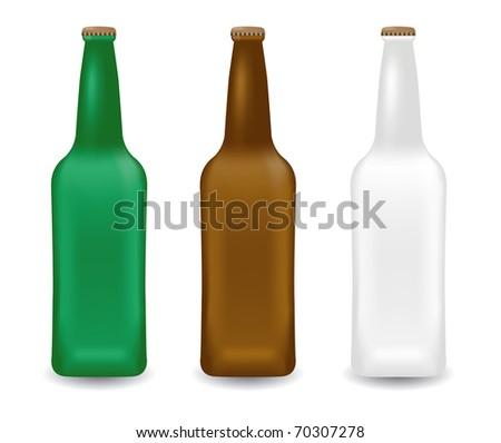 Beer bottles illustration - stock vector