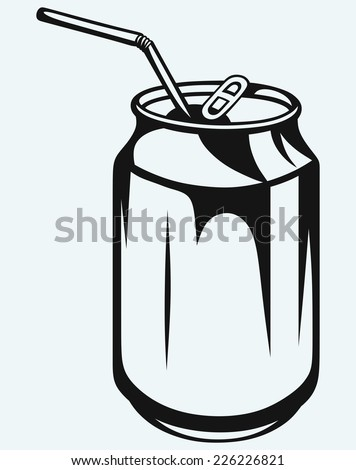 Beer can isolated on blue background - stock vector