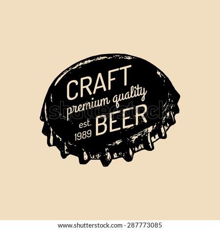Beer cap. Old brewery. Beer labels. Brewery sketch. Beer bar. Brewery background. Craft beer. Beer  illustration. Vector vintage brewery logo. Retro logotype with beer cap. Hipster beer logo. - stock vector