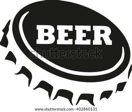 Beer cap with beer word - stock vector