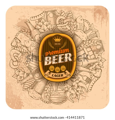 Beer coaster design in outline hand drawn doodle style with different beer and snack objects. Paste your company logo in center. All elements are separated and editable. Vector Illustration.  - stock vector